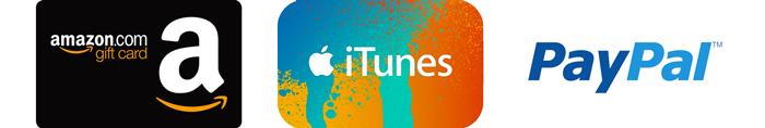 Amazon  iTunes  Paypal