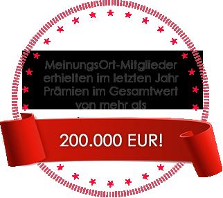 MeinungsOrt-Mitglieder erhielten im letzten Jahr Prämien im Gesamtwert von mehr als 200,000 EUR!