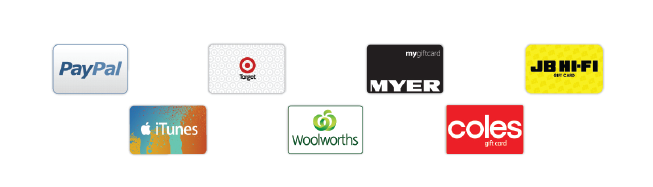 A small banner showing logos for our survey reward partners including Coles, iTunes, JB HiFi, Myer, PayPal, Target and Woolworths.