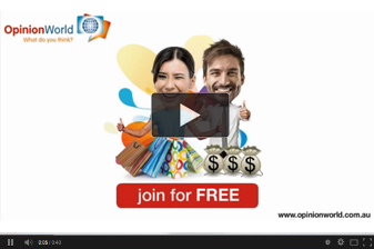A preview of our video showing you how to sign up to OpinionWorld Australia's paid survey platform and start earning rewards like Steve and Kate.