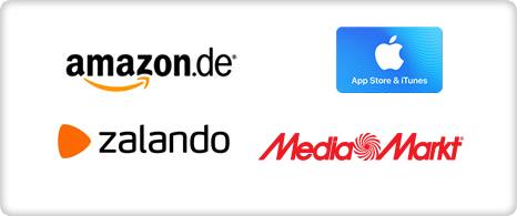 Amazon, App Store & iTunes, zalando, mediamarkt