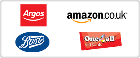 Amazon.co.uk,  One4All,  Boots,  Argos gift cards for surveys